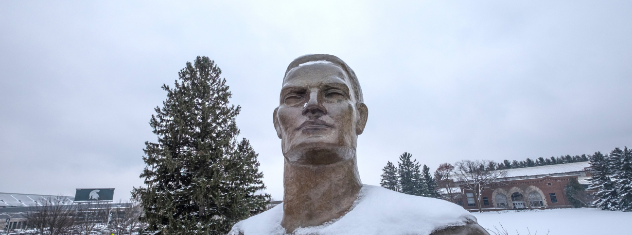 Sparty Statue in Winter